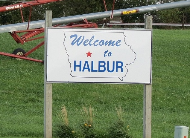 Welcome to Halbur sign